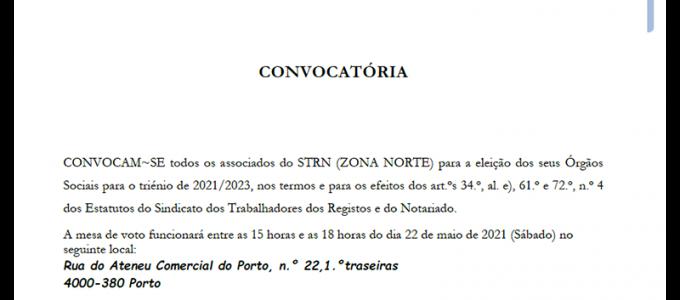 CONVOCATÓRIA - ELEIÇÕES ZONA NORTE DO STRN - 2021-2023_